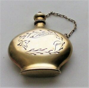 Antique Russian Russia Soviet Gilded 875 Silver Perfume Scent Bottle Flakon 18 G