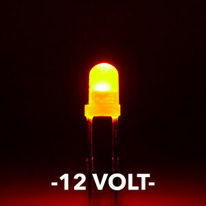 12 Volt 3mm Amber orange Led s With White Diffused Lens Pack Of 5