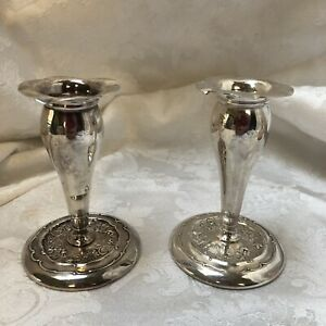 Pair Of Vintage Short Art Deco Silver Plated Stamped Candlesticks Mb Usa