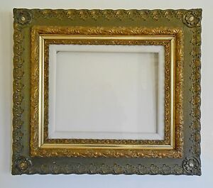 Antique Large Gesso On Wood Gold Painted Picture Frame From1880s
