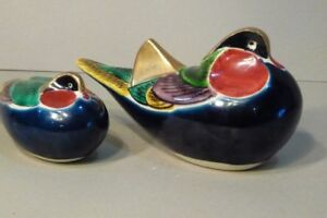 Pair 2 Old Japanese Kutani Okimono Porcelain Ducks Birds Figurine Sculpture