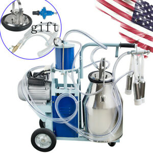usa stainless Steel Electric Milking Machine Milker Farm Goats Cows Bucket 25l