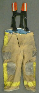 42x28 Janesville Yellow Firefighter Pants W Suspenders Turnout Fire Gear P041