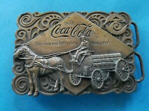 Vintage 1976 Coca-Cola Horse & Delivery Wagon Belt Buckle with Bottle Opener