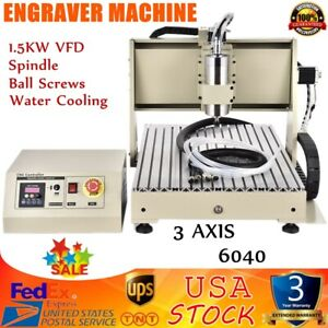 3 Axis 6040t Usb Cnc Router Engraver Engraving Drilling Milling Machine 1 5kw