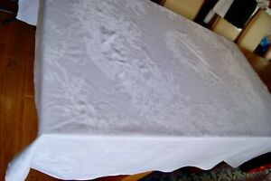 Antique Vintage Damask Linen Tablecloth Floral Wreath Ribbons 66 Square T96