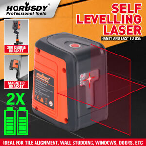 98ft Laser Level Self leveling Horizontal Vertical Cross line Laser 2 Pedestal