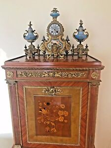 19th French Bronze Porcelain Clock Garniture Phillipe Mourey Submit Best Sale
