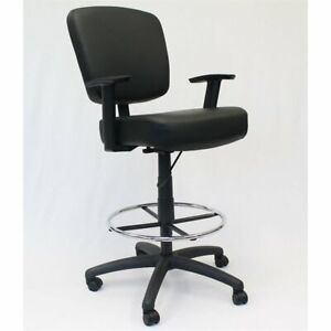 Boss Office Tough To Task Faux Leather Swivel Drafting Stool In Black
