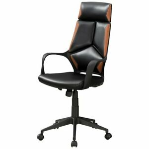 Monarch Faux Leather Swivel Executive Office Chair In Black And Brown
