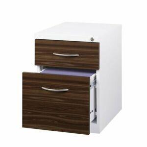 Hirsh 2 Drawer Bf Wood Front Mobile Pedestal Filing Cabinet In White