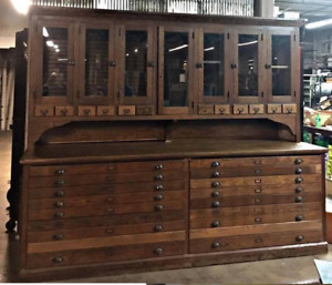 Antique Architect Drafting Oak Cabinet Apothecary Map Drawers