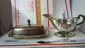 Leonard Silver Plated Covered Butter Dish With Knife And Gravy Bowl Vintage