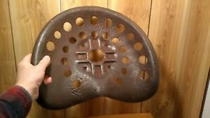 Antique Original Primitive Pressed Steel Tractor Or Hayrake Seat 17 X 14