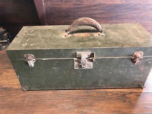 22518 Vintage Metal Union Steel Tool Box Storage Chest Green
