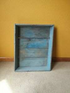 Large Antique Primitive Wood Apple Box Tray Early Blue Paint