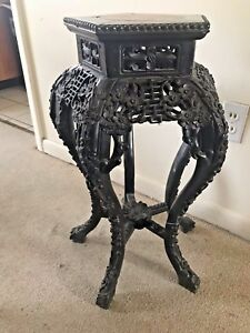 Chinese 19th Century Carved Hardwood Stand Marble Center Submit Best Offer
