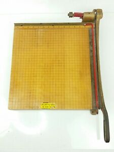 Vintage Ingento 5 Cast Iron Maple Guillotine Paper Cutter 15 5 X 15 5
