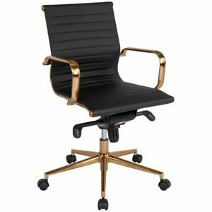 Flash Furniture Mid Back Leather Swivel Office Chair In Black And Gold