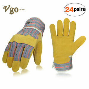 Vgo 3 12 24pairs Pig Split Leather Work Gloves For Men With Safety Cuff 88pbsa