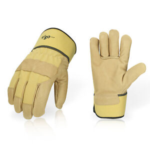 Vgo 3 9pairs Pig Grain Leather Men s Work Gloves With Safety Cuff pa3501