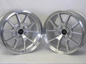 18 Silver Mustang Fr500 Replica Wheels Rims Staggered 18x9 18x10 5x114 3 94 04