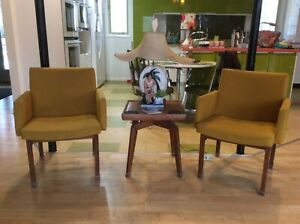 Pair Mid Century Modern Vintage Wood Upholstered Gold Fabric Chairs