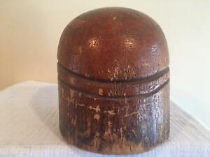 Unique Wooden Millinery Block Round Crown Wood Block Hat Making Form Mold Brim