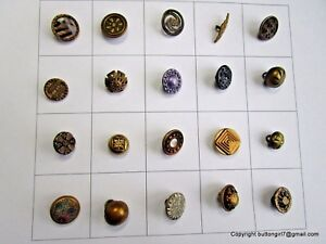 5481 A 20 Sml Metal Vintage Buttons Including Twinkles Pierced Vict Celluloid