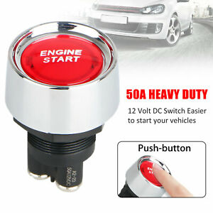 New Engine Start Switch Push Button Race Starter Universal Car Red Illuminated