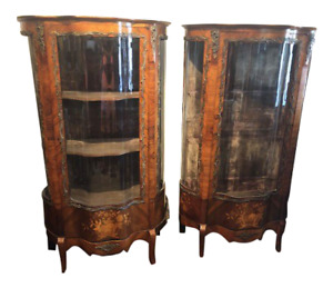 Antique Pair Superb French Rosewood Marquetry Serpentine Front Display Cabinets