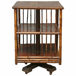 Superb 19th Century English Turning Bamboo Table Revolving Bookcase