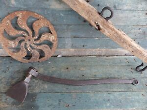 Primitive Antique Ships Wrought Iron Cauking Tool Hand Forged Rat Tail 18th Aafa