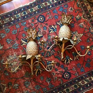 Pair Hollywood Regency Italian Gilt Tole Florentine Pineapple Sconces