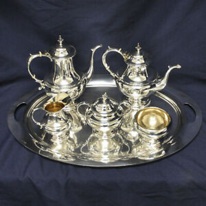 Reed Barton Pilgrim Sterling Silver 6 Pc Teapot Coffee Pot Set With Tray