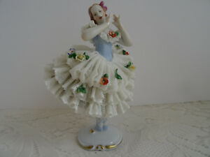 Large Dresden Figurine Dresden Porcelain Lace Ballerina Dancer Figurine Germany