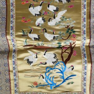 Vtg Antique Embroidered Silk Tapestry Asian Cranes Trees Flowers 17x31 Gold Mcm