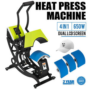 4 In 1 Hat Heat Press Machine Dual Digital Sublimation 650w Cap Strong Packing