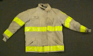 44x32 Globe White Firefighter Jacket Coat Bunker Turn Out Gear J733