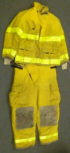 Globe Firefighter Set Jacket 46x32 Pants 42x30 Suspenders Turn Out Gear S33