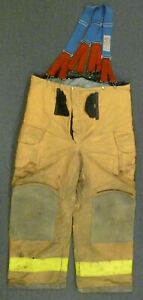 44x30 Janesville Tan Firefighter Pants W Suspenders Turnout Fire Gear P055