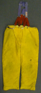 44x30 Globe Yellow Firefighter Pants W Suspenders Turnout Bunker Fire Gear P053