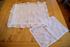 Vintage Organza Square Pillowcase Cushion Cover Mat Embroidered Flowers P3