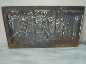 Vintage Architectural Salvage Cast Iron Panel Ornate 11 5 X 20 Vgc