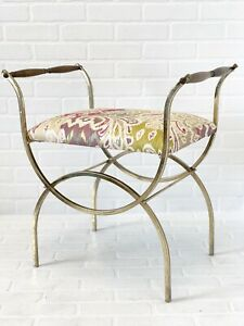 Vtg Brass Vanity Stool Padded Upholstered Mid Century Bench Metal Retro Chair