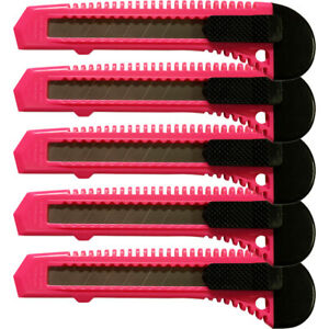 5 Safety Box Cutter Utility Knife Retractable Snap Off Razor Blade Neon Pink