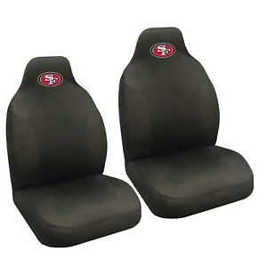 Nfl San Francisco 49ers Car Truck Suv Black Front Bucket Seat Covers Set