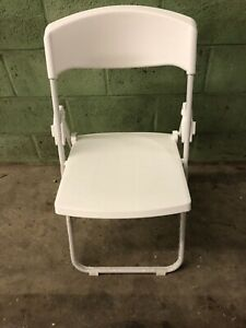 New Commercial White Plastic Folding Chairs Stackable Picnic Party set Of 12