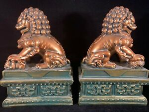 Chinese Vintage Decorative Foo Dog Statue Figurine One Pair