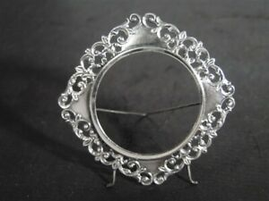 Vtg Pierced Scroll Motif Sterling Silver Footed Easel Photograph Photo Frame